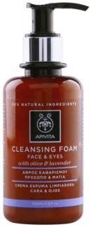 Apivita Cleansing Olive & Lavender spuma de curatat pentru față și ochi