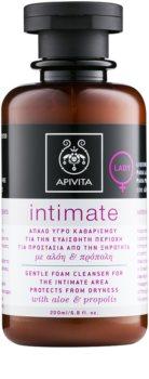 Apivita Intimate Care Aloe & Propolis gel suave de limpeza espumoso para higiene íntima