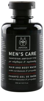 Apivita Men's Care Cardamom & Propolis shampoing et gel de douche 2 en 1
