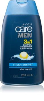 Avon Care Men 3 σε 1 σαμπουάν, μαλακτικό και τζελ για ντους για άντρες