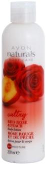 Avon Naturals Body feuchtigkeitsspendende Bodylotion mit roter Rose und Pfirsich