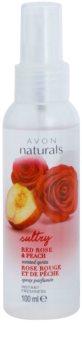 Avon Naturals Body tělový sprej s červenou růží a broskví
