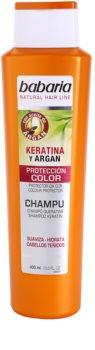 Babaria Argan champô para proteção da cor com queratina e argan