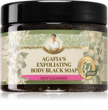 Babushka Agafia 37 Herbs peelingové mýdlo černé