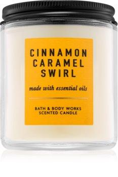 Bath & Body Works Cinnamon Caramel Swirl scented candle With Essential Oils I.