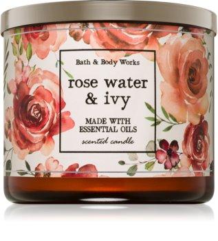 Bath & Body Works Rose Water & Ivy illatos gyertya