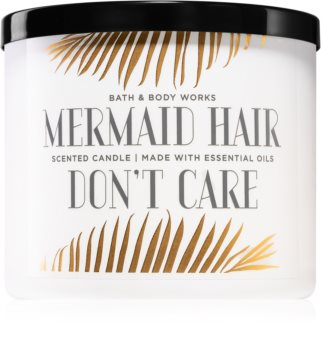 Bath & Body Works Mermaid Hair Don't Care scented candle With Essential Oils I.