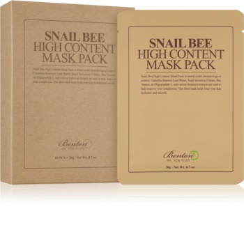 Benton Snail Bee mascarilla de hoja para un  tratamiento complejo con extracto de baba de caracol