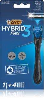 BIC FLEX3 Hybrid Scheerapparaat + Vervangbare Scheermesjes  + Vervangende Bladen 4st.