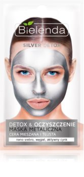 Bielenda Metallic Masks Silver Detox detoxificerend en reinigend masker voor Gemengde en Vette Huid