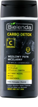 Bielenda Carbo Detox Active Carbon Micellar Cleansing Water with Active Charcoal for Face and Eyes for Oily and Combination Skin