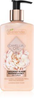 Bielenda Camellia Oil nährende und feuchtigkeitsspendende Körpermilch mit Glitzerteilchen