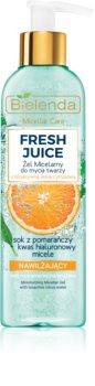 Bielenda Fresh Juice Orange mizellares Reinigungsgel mit feuchtigkeitsspendender Wirkung