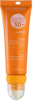 Bioderma Photoderm Bronz DUO fluid protector pentru față și balsam de buze SPF 50+
