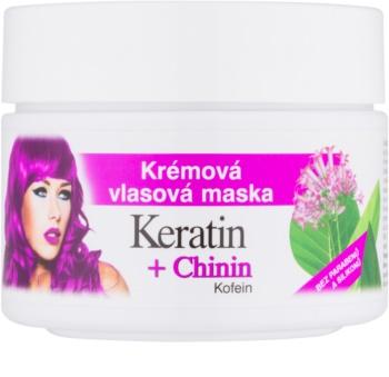 Bione Cosmetics Keratin + Chinin κρεμώδης μάσκα για τα μαλλιά
