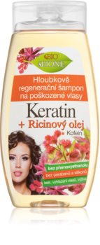Bione Cosmetics Keratin + Ricinový olej Diepe Herstellende Shampoo  voor het Haar