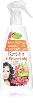 Bione Cosmetics Keratin + Ricinový olej regenerační bezoplachový kondicionér na vlasy
