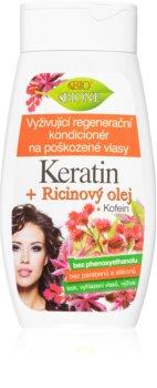 Bione Cosmetics Keratin + Ricinový olej Elvyttävä Hoitoaine Heikoille ja Vaurioituneille Hiuksille
