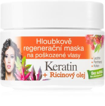 Bione Cosmetics Keratin + Ricinový olej regeneracijska maska za lase