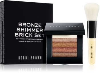 Bobbi Brown Bronze Shimmer Brick Set озаряващ бронзър (с четка)