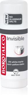 Borotalco Invisible Deodoranttipuikko Käsittelee Valkoisia Ja Keltaisia Tahroja