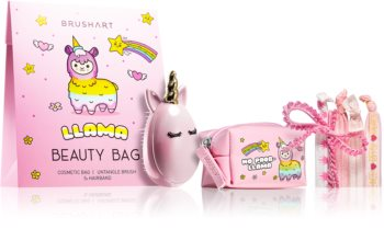 BrushArt KIDS Kosmetiikkasetti Llama beauty bag pink I.