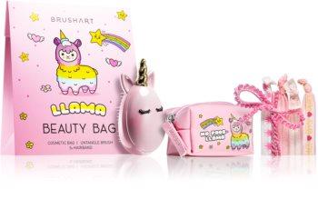 BrushArt KIDS козметичен комплект Llama beauty bag pink I.
