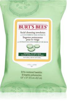 Burt's Bees Cucumber & Sage čistilni robčki za odstranjevanje ličil za normalno do suho kožo