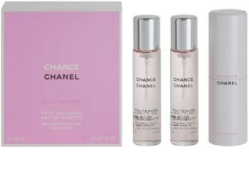 Chanel Chance Eau Tendre eau de toilette (1x vap.recarregável + 2 x recarga) para mulheres