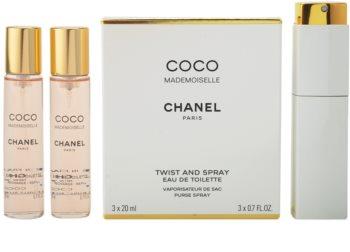 Chanel Coco Mademoiselle Eau de Toilette (1x vap.recarregável + 2 x recarga) para mulheres