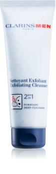 Clarins Men Wash čistiaci pleťový peeling 2 v 1