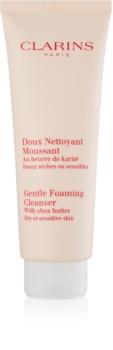 Clarins Gentle Foaming Cleanser with Shea Butter finoman tisztító hab az érzékeny száraz bőrre