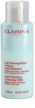 Clarins Cleansing Milk with Alpine Herbs, Moringa Cleansing Lotion with Alpine Herbs Extract for Normal and Dry Skin