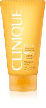 Clinique Sun SPF 15 Face/Body Cream крем за загар  SPF 15