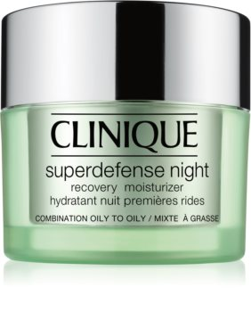 Clinique Superdefense™ Night Recovery Moisturizer Fugtgivende natcreme mod rynker til fedtet og kombineret hud
