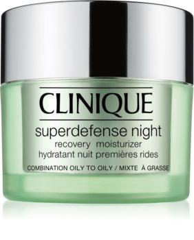 Clinique Superdefense™ Night Recovery Moisturizer nawilżający krem przeciwzmarszczkowy na noc do skóry tłustej i mieszanej
