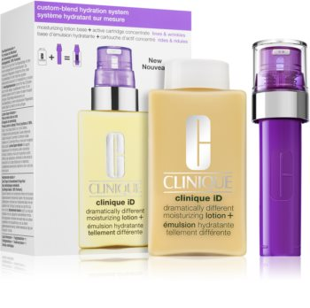 Clinique iD™ Dramatically Different™ Moisturizing Lotion + Active Cartridge Concentrate for Lines & козметичен комплект III. (против бръчки)