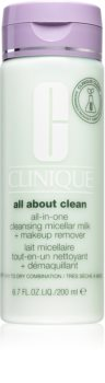 Clinique All About Clean All-in-One Cleansing Micellar Milk + Makeup Remove könnyű állagú tisztítótej száraz és nagyon száraz bőrre