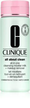 Clinique All About Clean All-in-One Cleansing Micellar Milk + Makeup Remove könnyű állagú tisztítótej kombinált és zsíros bőrre