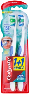 Colgate 360° Whole Mouth Clean brosses à dents medium 2 pcs