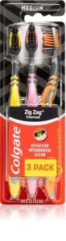 Colgate Zig Zag Charcoal periuta de dinti Medium 3 pc