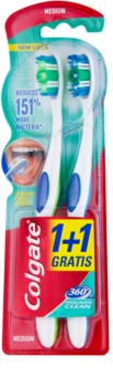 Colgate 360°  Whole Mouth Clean zubní kartáčky medium 2 ks