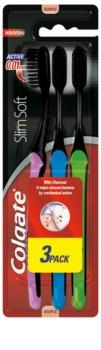 Colgate Slim Soft Active spazzolini da denti al carbone attivo soft 3 pz