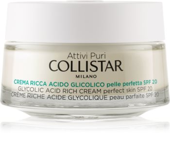 Collistar Pure Actives Glycolic Acid výživný krém pre obnovu hutnosti pleti s rozjasňujúcim efektom