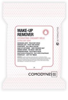 Comodynes Make-up Remover Creamy Milk sminklemosó kendő nagyon száraz bőrre