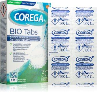 Corega Tabs Bio почистващи таблетки за премахващи се шини и зъбни протези