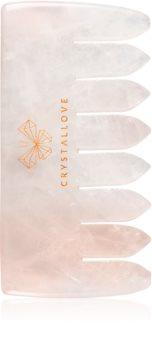 Crystallove Rose Quartz Comb massage-instrument voor haar en lichaam