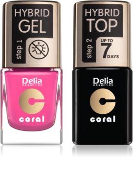 Delia Cosmetics Coral Nail Enamel Hybrid Gel комплект odstín 22 за жени