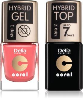 Delia Cosmetics Coral Nail Enamel Hybrid Gel комплект odstín 16 за жени