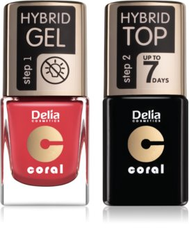 Delia Cosmetics Coral Nail Enamel Hybrid Gel zestaw kosmetyków